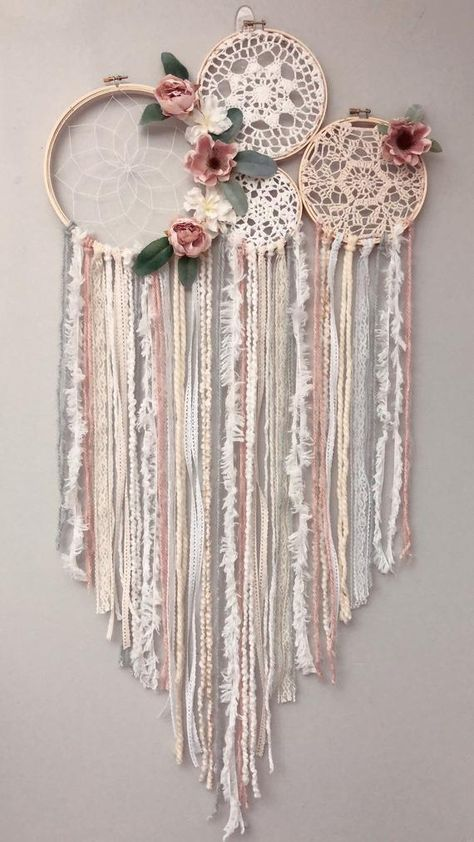 Blush floral dream catcher For other colors please request a custom order !  This item ships in 2-3 separate pieces . Can be hot glued together (or zip tied for easiest) Each dream catcher can take up to 2 weeks to make and 2-3 days to ship. Length varies for ribbons if you need a certain length