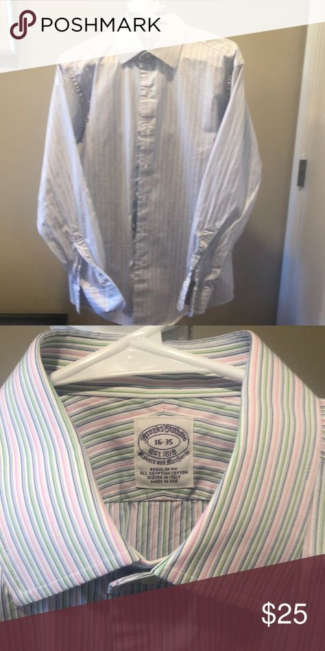 Brooks Brothers Dress Shirt 16-35 Like new, only worn once!  From a smoke-free home.  Alternating pink/blue/green stripes. Brooks Brothers Shirts Dress Shirts