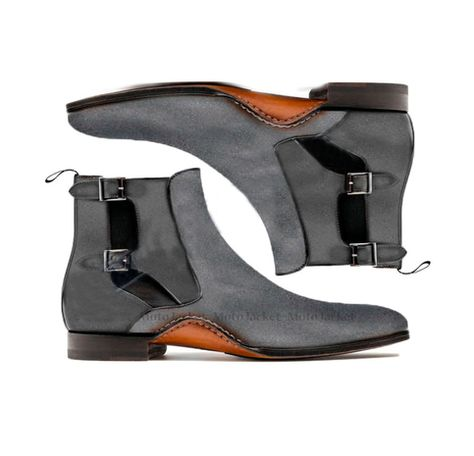 Ankle High Gray Color Chelsea Boot, Men's Handmade Suede