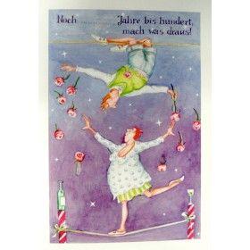 """Christina Thrän   Briefkarte """"Noch .... Jahre bis hundert"""""""