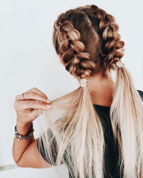 Braids Pigtail Aesthetic 53 Ideas For 2019 Pigtail Braids Aesthetic Hair Styles Thick Hair Styles Easy Hairstyles For Long Hair