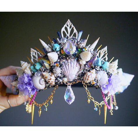 The Ice Blue Moon Crown - Mermaid Crown - Shell Crown - Crystal Crown - hen party - bachelorette - festival crown - made to order