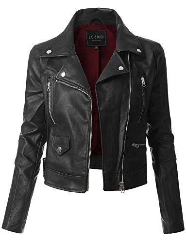Womens Faux Leather Fully Lined Long Sleeve Moto Biker Jacket Leather Sleeve Jacket, Vegan Leather Jacket, Faux Leather Jackets, Riders Jacket, Moto Jacket, Motorcycle Jacket, Mode Monochrome, Cute Jackets, Biker Jackets