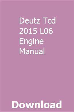 Deutz Tcd 2015 L06 Engine Manual Engineering Manual Stationary Engineer