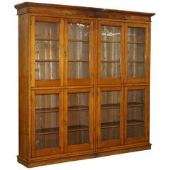 Very Rich Custom Mahogany Cabinet With Glass Doors And Adjustable