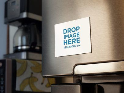 Placeit Fridge Magnet Mockup With A Coffee Machine And Bananas Print In The Back Fridge Magnets Banana Print Fridge