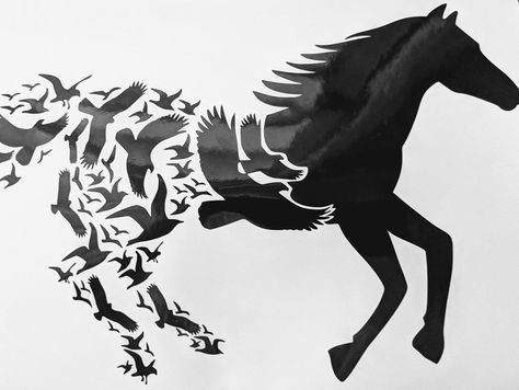 Running Horse Transitioning to Flock of Birds Vinyl Decal for Car, Hom – FTW Custom Vinyl