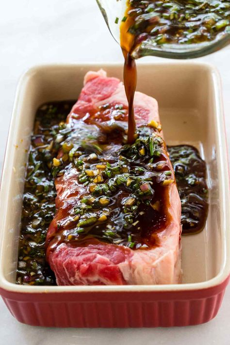 This easy steak marinade recipe is the BEST and it will quickly add tons of flavor to any cut of beef! The mixture is a blend of soy sauce Worcestershire sauce onion garlic honey olive oil and fresh herbs. Steak Marinade Recipes, Grilled Steak Recipes, Steak Marinade Soy Sauce, Best Marinade For Steak, Marinades For Steak, Easy Steak Recipes, Beef Tenderloin Marinade, Flat Iron Steak Marinade, Sauce For Steak