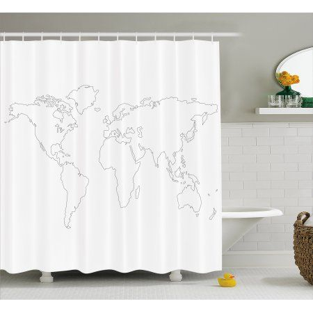 Map Shower Curtain Simplistic Design World Map Outline With Thin Black Line Drawing Abstract C Bathroom Interior Design Simplistic Design White Shower Curtain