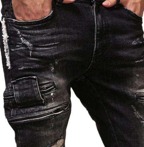 Rebelsmarket black slim fit multi pockets vintage distressed biker denim jeans pants jeans 3