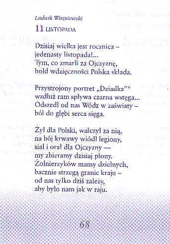 11 Listopada Wiersz Ludwika Wiszniewskiego Wiersze