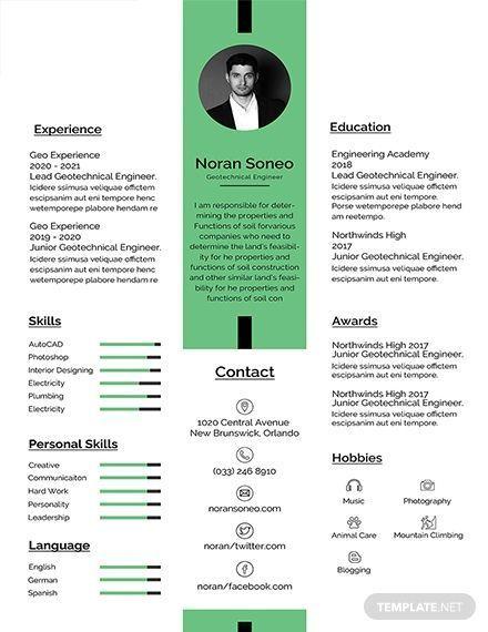 Free Geotechnical Engineer Resume Template Resume Template Resume Design Template Resume Examples