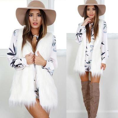 Winter Womens White Sleeveless Vest Faux Fur Slim Vest Coat Female Long Waistcoat Outwear Jacket Waistcoat