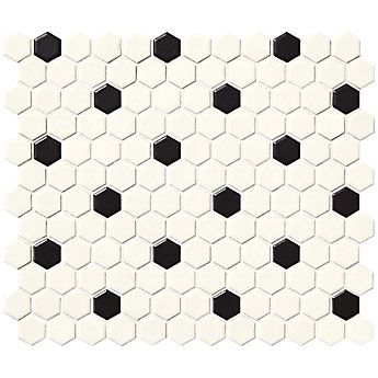 Daltile Finesse Satin White With Black Dot 10 Inch X 12 Inch X 6 Mm Glazed Porcelain Hexagon Mosaic Wall Tile 9 Hexagonal Mosaic Mosaic Wall Tiles Dal Tile