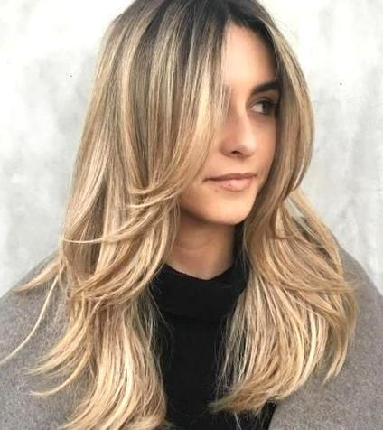 Long Haircut With Rounded Feather Like Layers In 2020 Long Thin Hair Long Layered Haircuts Layered Haircuts With Bangs