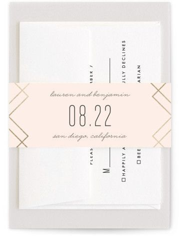 Foil Pressed Belly Bands By Minted Soft Glass Wedding Accessories Wedding Houston Wedding Photographer Wedding Paper Houston Wedding