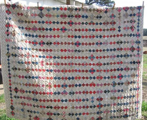 Large Antique Patchwork Quilt Early Square Blocks Vintage Hand Sewn Geometric Ebay Eclectic Quilts Vintage Quilts Old Quilts