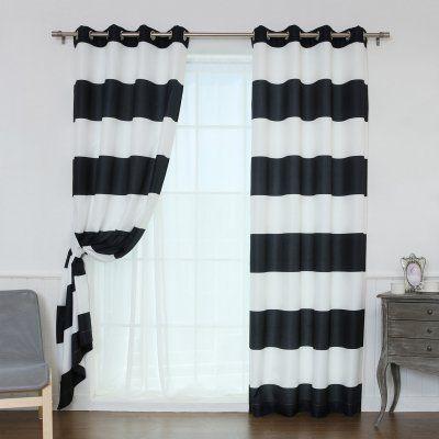 Best Home Fashion Rugby Stripe Room Darkening Curtain Pair    OXFORD_HSTRIPE 84 BLACK | Striped Room, Room Darkening Curtains And Products