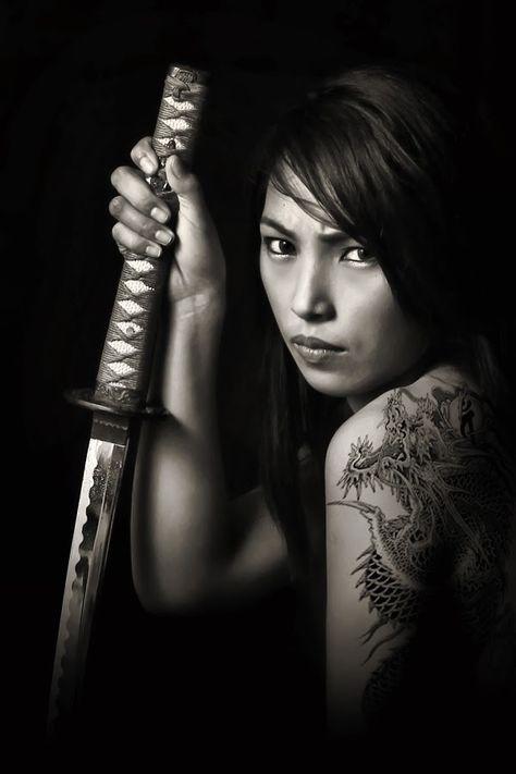 the lady with the dragon tatoo by Fsm Fashionstudiomanila - People Portraits of Women ( b&w, fierce, fsm, tatoo, sword )