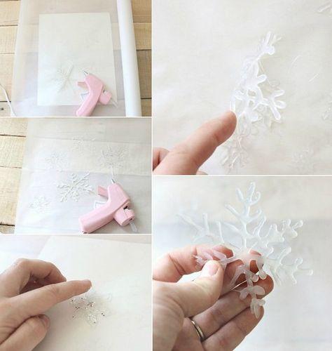 Tolle Bastelideen Schneeflocken Heißklebepistole Backpapier