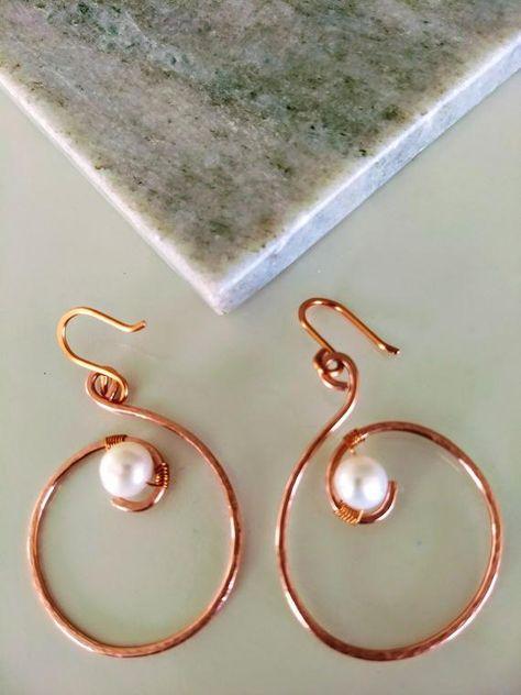 Loveswan Pearl Teardrop Beads Copper Earrings
