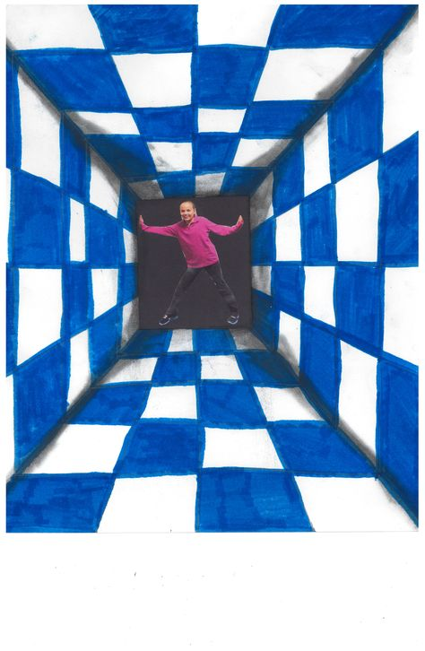 Fifth Grade Op Art Project using one point perspective