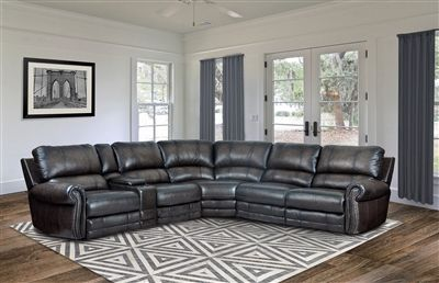 Thurston 6 Piece Power Reclining Sectional In Shadow Leather By