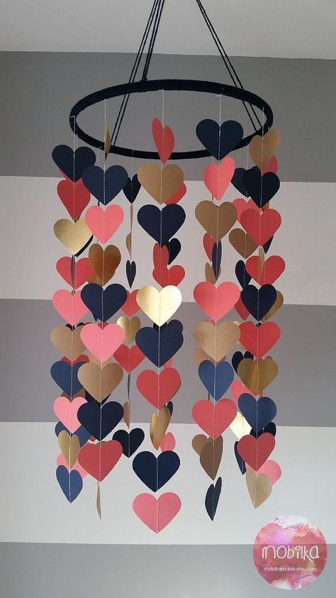 Heart shape paper mobile. Navy coral and gold. by mobilkamobile