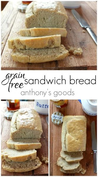 Soft and fluffy, this paleo and grain free sandwich bread is made with almond flour and arrowroot starch. One bowl, 10 minutes prep = the perfect loaf for sandwiches! Dairy Free Recipes, Gluten Free Recipes, Low Carb Recipes, Whole Food Recipes, Dinner Recipes, Bread Recipes, Baking Recipes, Soup Recipes, Healthy Recipes