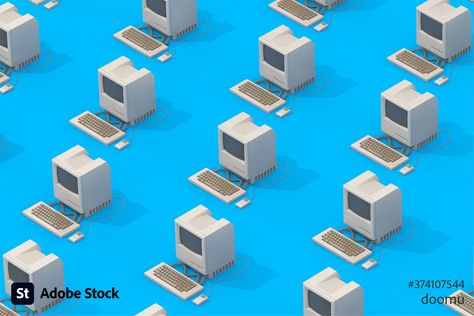 3D rendering of retro personal computers in isometric style