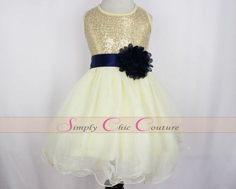 9e00e401ea1 Navy Blue   Gold Sequin Flower Girl Dress   Ivory Tulle Flower Girl ...