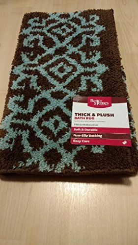 Better Homes And Gardens Thick And Plush Brown And Teal Bath Mat