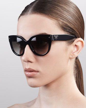 97e434edf Heritage Cat-Eye Sunglasses, Black by Prada at Neiman Marcus. | My ...