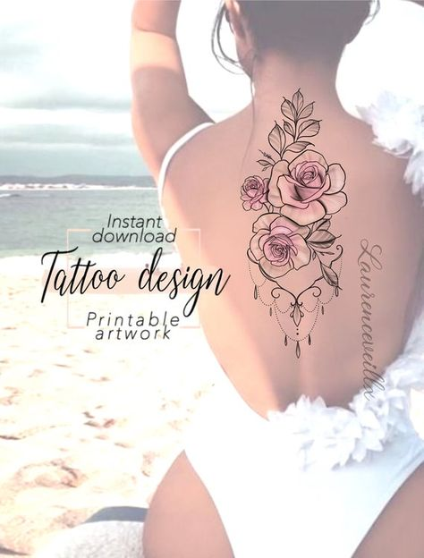Tattoo design Roses Ornemental Jewelry  Digital female floral image 6