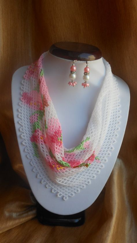 Beaded scarf Necklace scarf Women scarf Pink beaded necklace Floral necklace Delicate necklace Gift for her Apple blossom Jewelry beaded