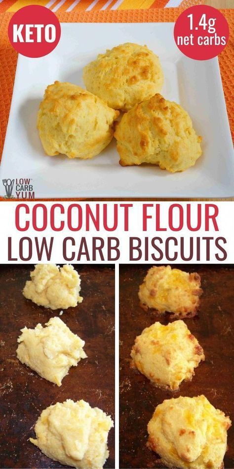 Easy Coconut Flour Biscuits - Low Carb This keto coconut flour biscuits low carb recipe is easy to make. Enjoy these low carb biscuits with dinner or as a tasty keto appetizer. carb recipes for dinner Low Carb Biscuit, Low Carb Bread, Low Carb Diet, Keto Fat, Coconut Flour Biscuits, Keto Biscuits, Almond Flour, Coconut Flour Recipes Keto, Coconut Flour Dumplings Recipe