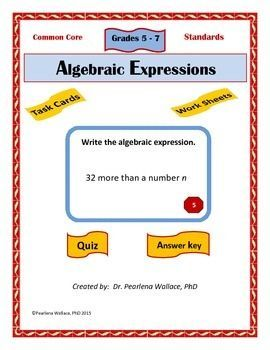 Algebra: 64 Algebraic Expressions Task Cards - Write