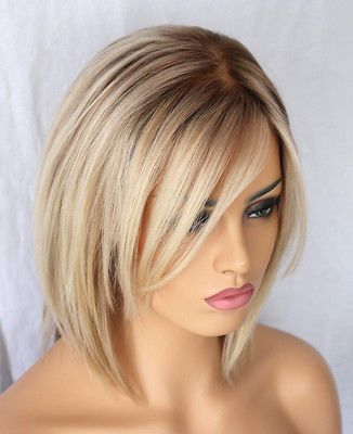 Hot Brazilian Short Bob Wig Blonde Human Hair Silk Base Full Lace Lace front Wig