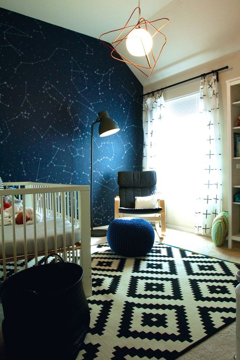 2016 Nursery Trend: Cosmic. An updated spin on the classic navy blue nursery, cosmic is both dreamy and sophisticated. We are seeing deep navy paired with gold, gray and black.