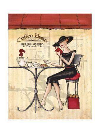 Elegant Woman Drinking Coffee At A Cafe Art Print Milovelen Art Com In 2020 Art Painting Art Prints
