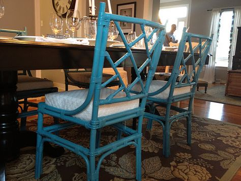 love the turquoise bamboo dining room chairs! | For the Home ...