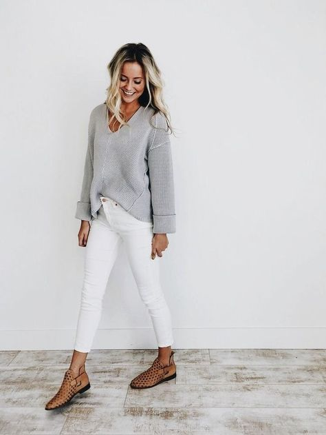 How to wear white jeans in the fall and winter - Mode für Frauen - Best Outfits Style