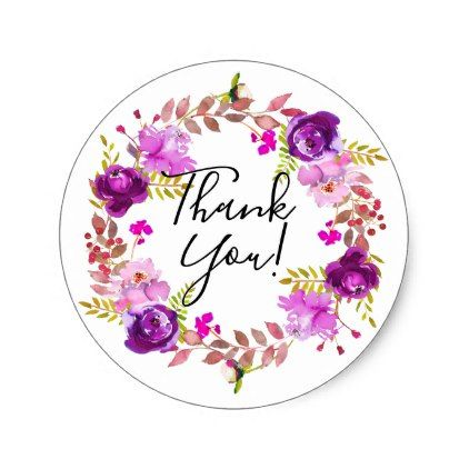 Lilac And Purple Watercolor Floral Thank You Classic Round Sticker