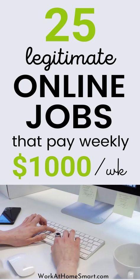 25 Legit Online Jobs That Pay Weekly in 2020 [Video] [Video] | Money making jobs, Legit online jobs,