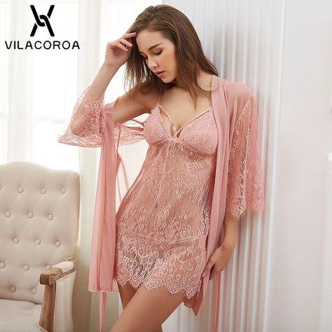 Sexy Lace Women Sleepwear Solid V-Neck Camis Night Dress – kidenhome