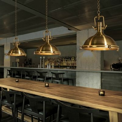 Industrial Antique Gold Pendant Light Dome Shade Single Light Hanging Ceil Lamp Lamps Lighting Ceiling Fans Home Garden