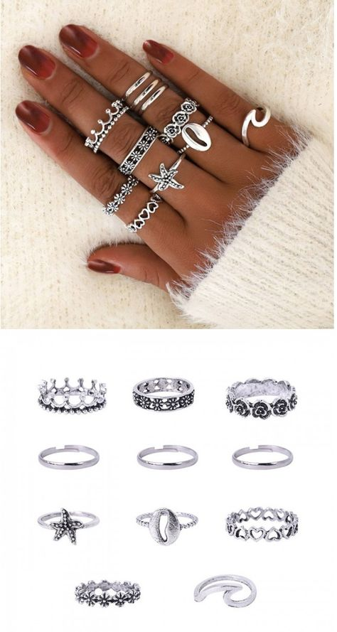 Retro Hollow Love Crown Pattern 11-piece Women Ring Cute Starfish Wave Shell Ring #ring #cute