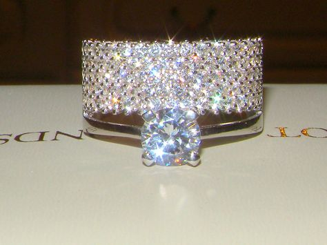 925 Silver created diamond 5 Row Double Luxury ring.engagement band size 7/O