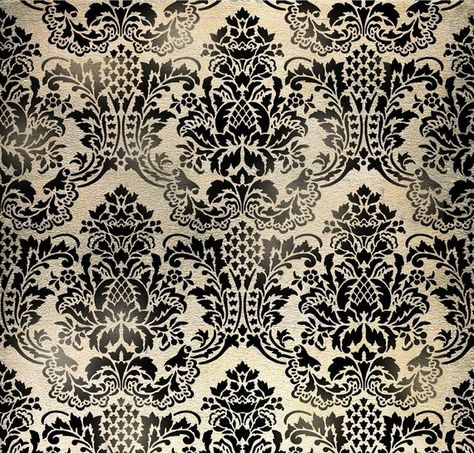 Wall Stencil Damask Flora  Allover by CuttingEdgeStencils on Etsy, $64.95.  A bit busy for large area, but great for a small focus wall, especially in a bathroom, or for stencil on furniture