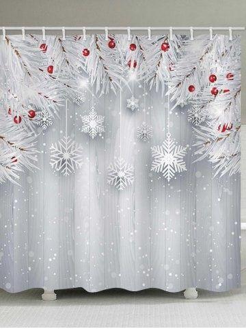 Christmas Snowflake Wooden Waterproof Shower Curtain Christmas Shower Curtains Shower Curtain Shower Curtain Art